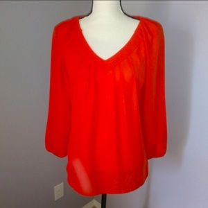 Willi Smith pleated v neck blouse